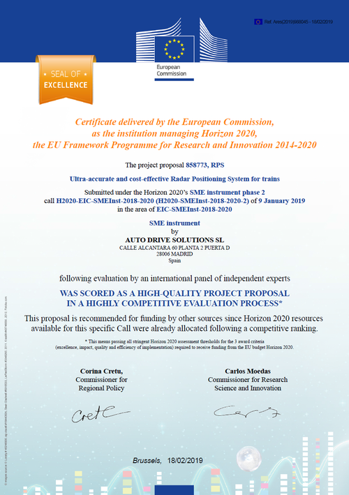 The European Commission grants the Seal of Excellence to RPS technology